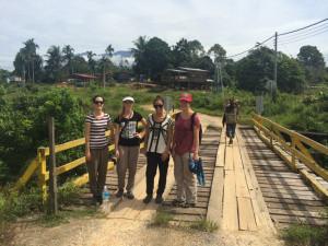 Claire Mitchell, Elizabeth King, Simone Bova and Stephanie Triefus in Mangkadait village.