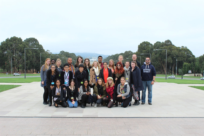 All the delegates in front of the Australian War Memorial