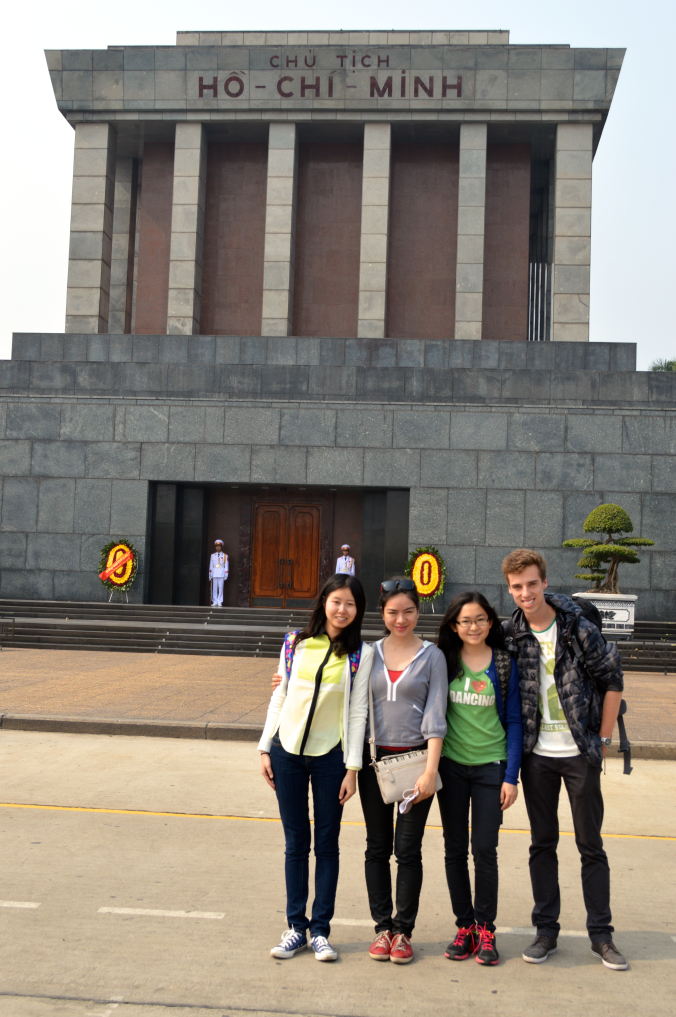The four Macquarie volunteers in Hanoi: Faye, Joyce, JiaTian and myself in front of Ho Chi Minh's mausoleum on one of our weekend trips spent exploring Hanoi and the Old Quarter