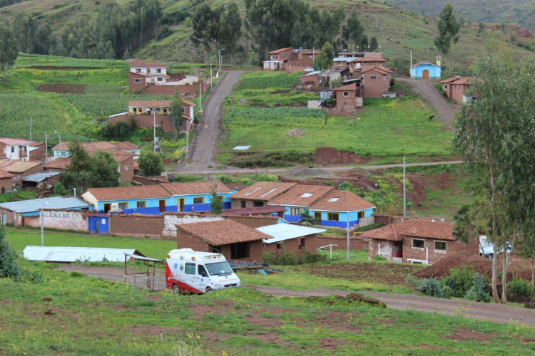 Quilla Huata school , painted with the distinctive colours of Peru's Challenge