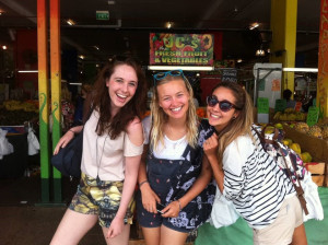 Exploring the local fruit markets in Cairns with friends from my share house