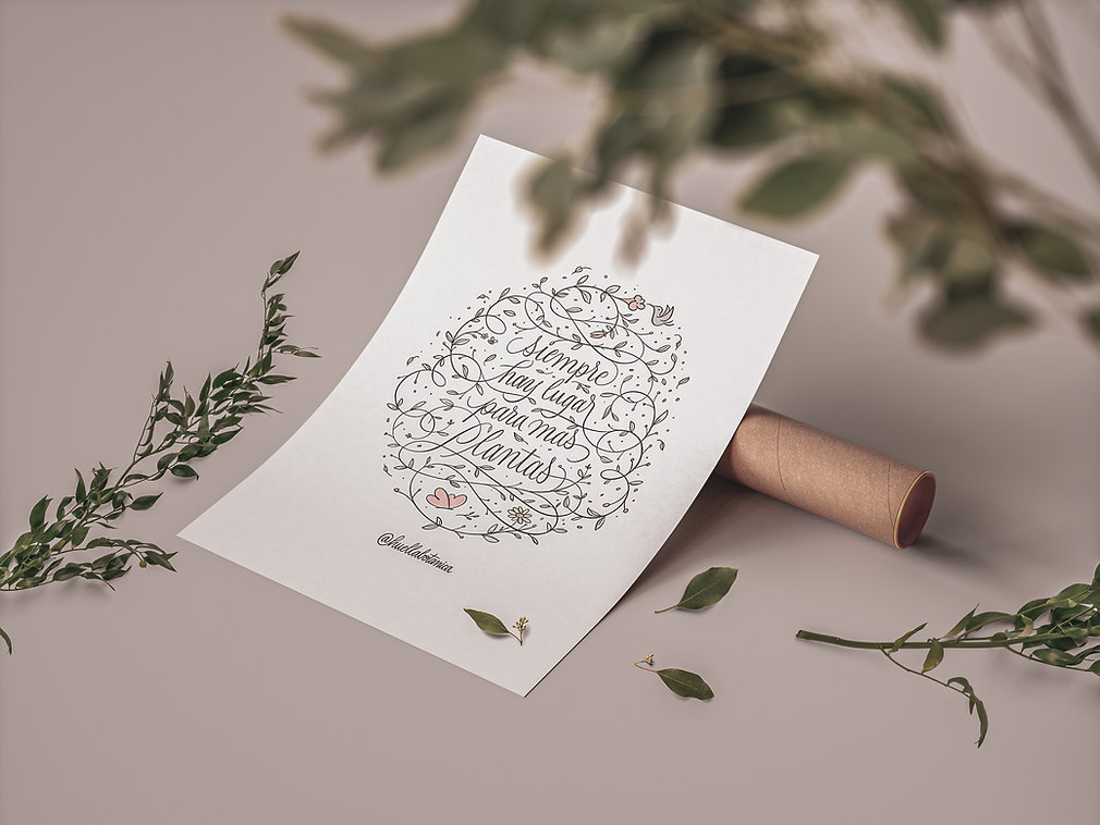 Poster Lettering huella botanica Diogo R