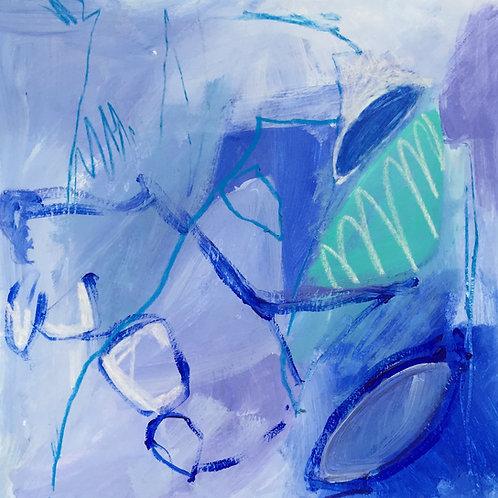 Abstrait Bleu. 24x24 cm