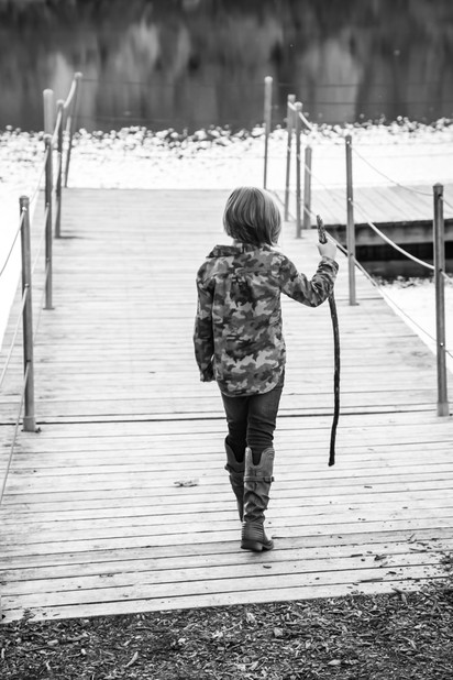 Walking on the Dock of the Lake