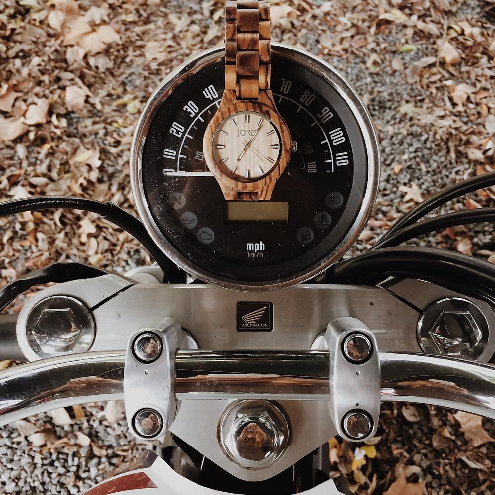 JORD watch on Taner's Honda motorcycle