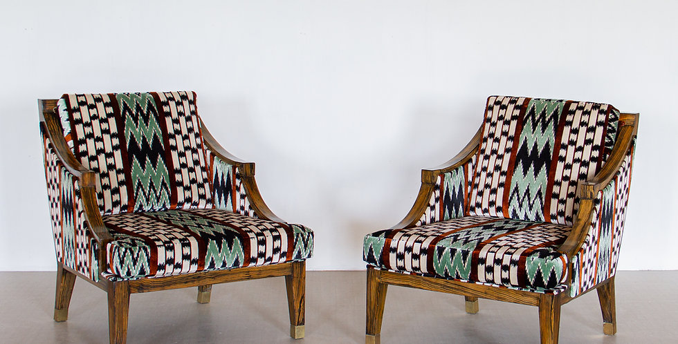 A Pair of Simulated Rosewood Armchairs in the manner of Jean Michel Frank, 1970s