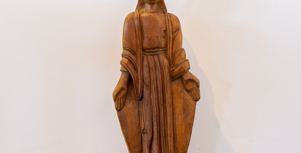 A Mexican Carved Wooden Figure of an Evangelical Woman, 1920s