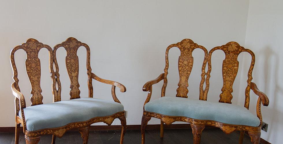 A Pair of 19th Century Dutch Marquetry Sofas, circa 1850