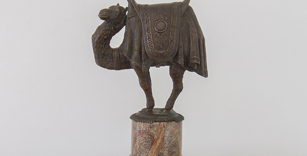 A Bronze Casting of a Camel on a 19th Century Marble Base