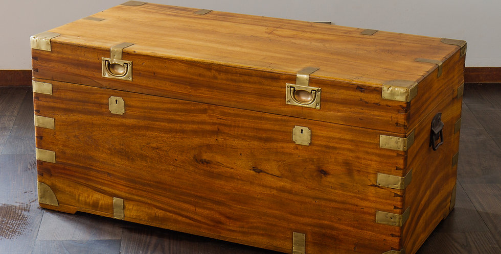 A Good 19th Century Camphor Wood Trunk retaining Original Brass Fittings