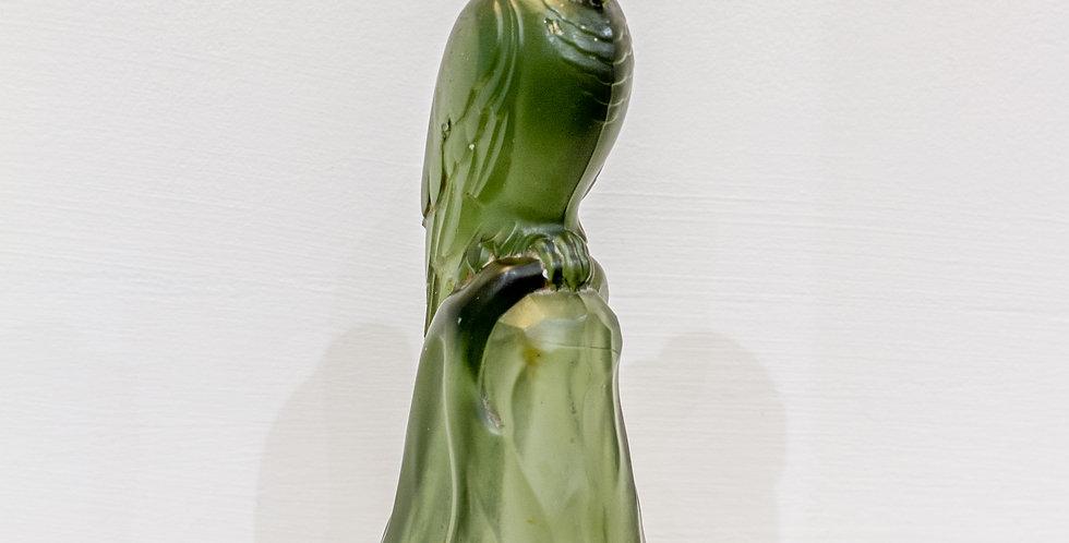 A Belgian Art Nouveau Green Glass Parrot by Val Saint Lambert