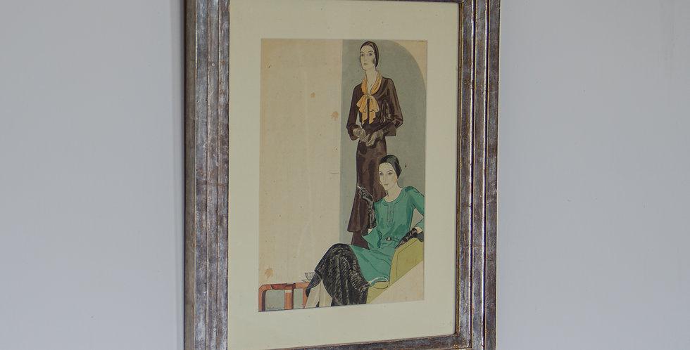 An Art Deco Fashion Watercolour in a Silver Gilt Frame