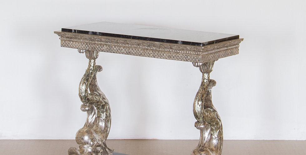 Swedish Empire Silverleafed Dolphin Console Table circa 1820