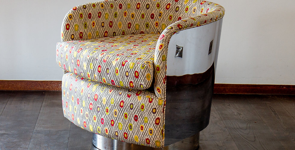 Rare Original Milo Baughman Steel Wrapped Swivel Chair 1970s