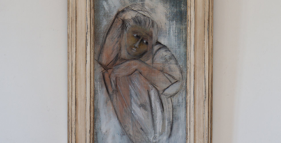 A Framed Oil on Canvas Painting of a Curled up Figure by Mickey Pfau 1990s