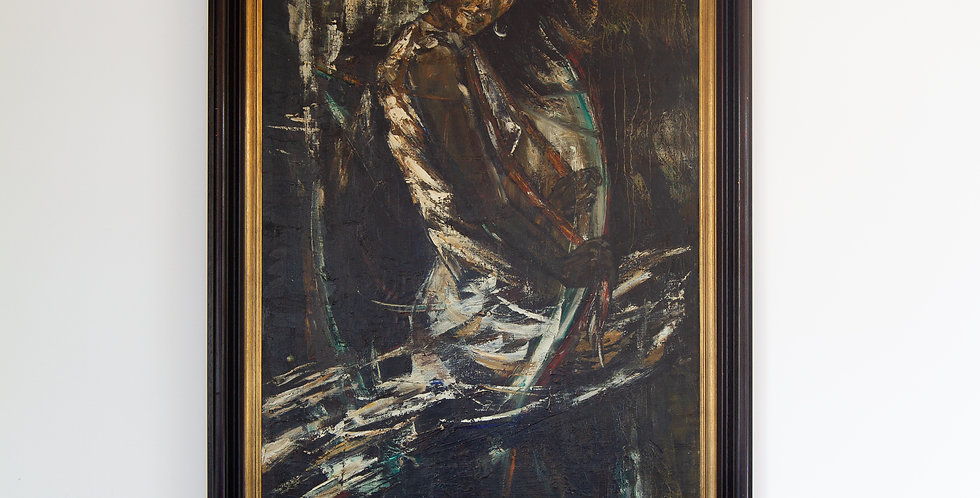 Large Belgian Oil Painting of Maria Albaicin by Roland Cassiman, 1968