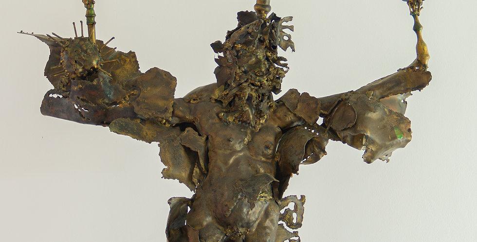 Large Mexican Sculpted Brutalist Figurative Candelabra 1950s