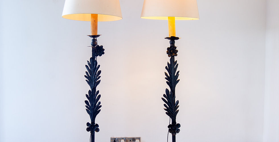 A Pair of English Wrought Iron Floor Lamps, circa 1920