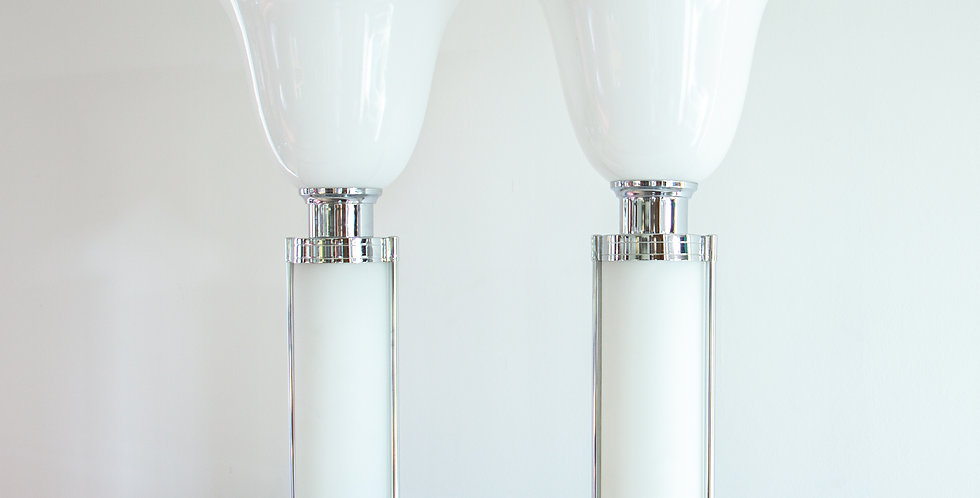 Contemporary Pair of Chrome and Glass Uplighter Lamps