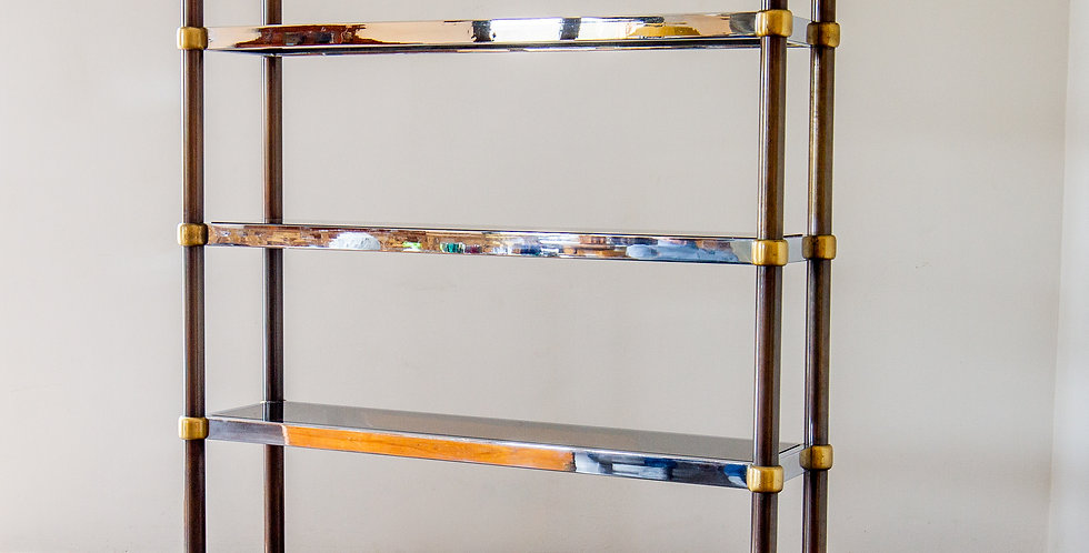 A French Five Tier Copper, Brass and Chrome Etagere 1970s