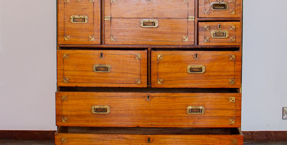 Superb 19th Century Camphor Wood Campaign Secretaire