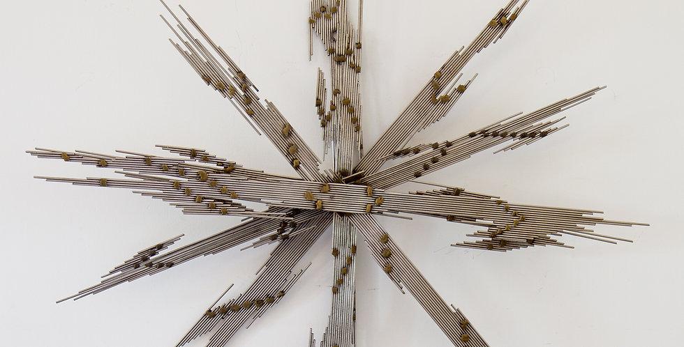 A Steel Rod and Brass Lightning Starburst Wall Sculpture 1970s