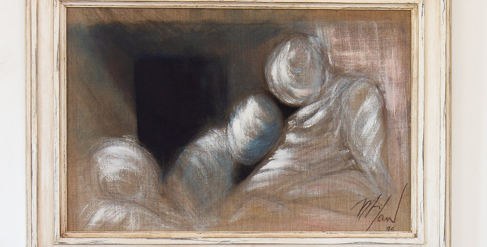 A Framed Oil on Canvas Painting of a Couple by Mickey Pfau 1995