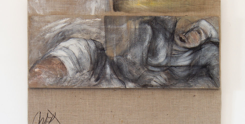 A French Oil on Canvas Split Painting by Mickey Pfau 1996