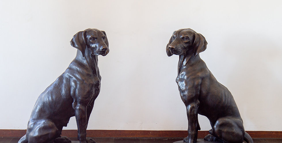 Pair of Bronze Seated Pointers After Alfred Jacquemart