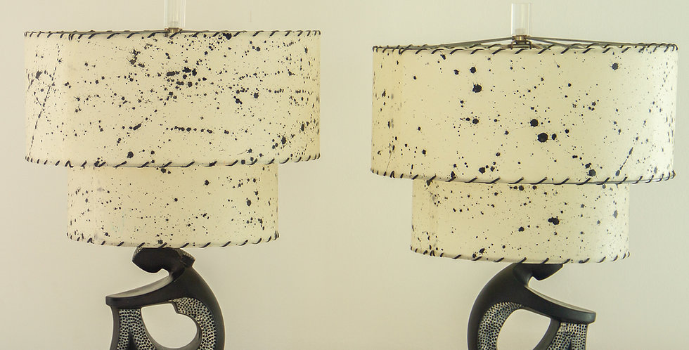 Pair of Black Figurative Table Lamps by F.A.I.P 1950s