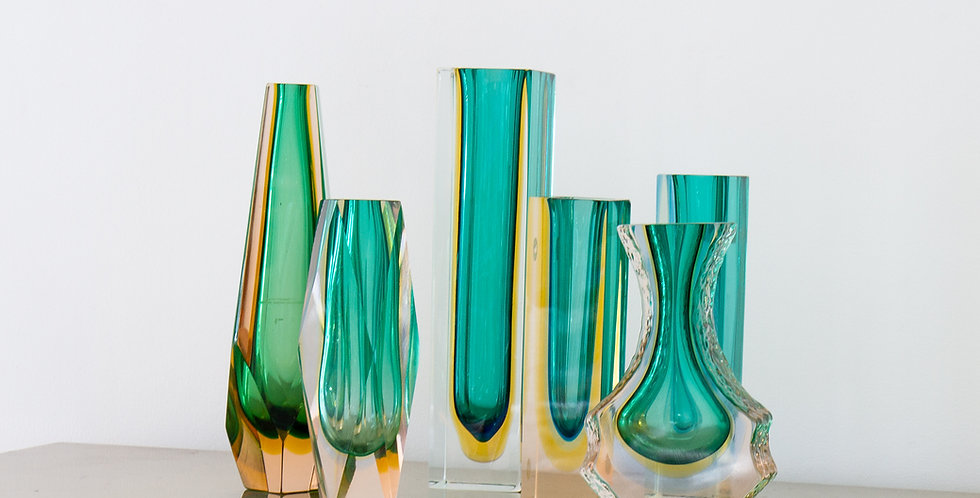 A Group of Six Green Murano Glass Vases, 1960s