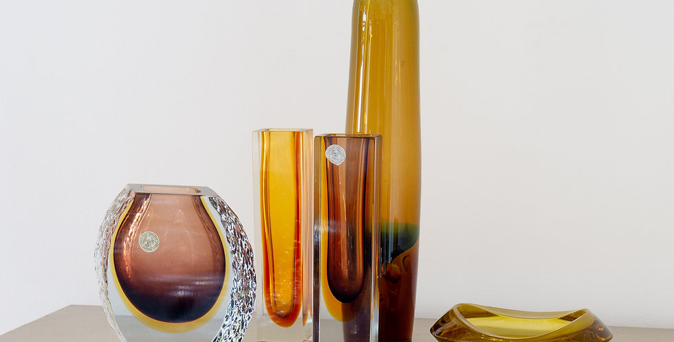 A Group of Five Amber Glass Vases and Bowl