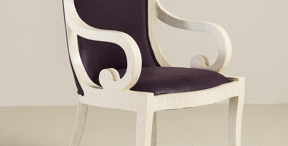 Pair of Karl Springer Tessellated Bone Veneered Carver Dining Chairs