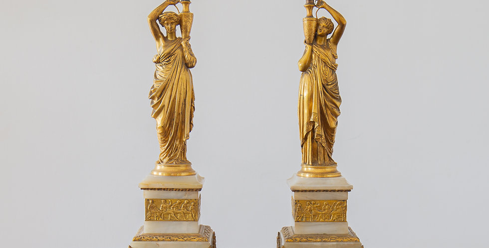 A Pair of Late 19th Century Neoclassical Ormolu Table Lamps