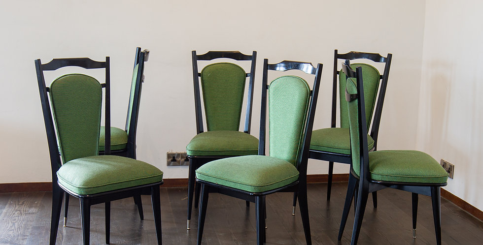 A Set of Six Italian Ebonised Framed Dining Chairs 1950s