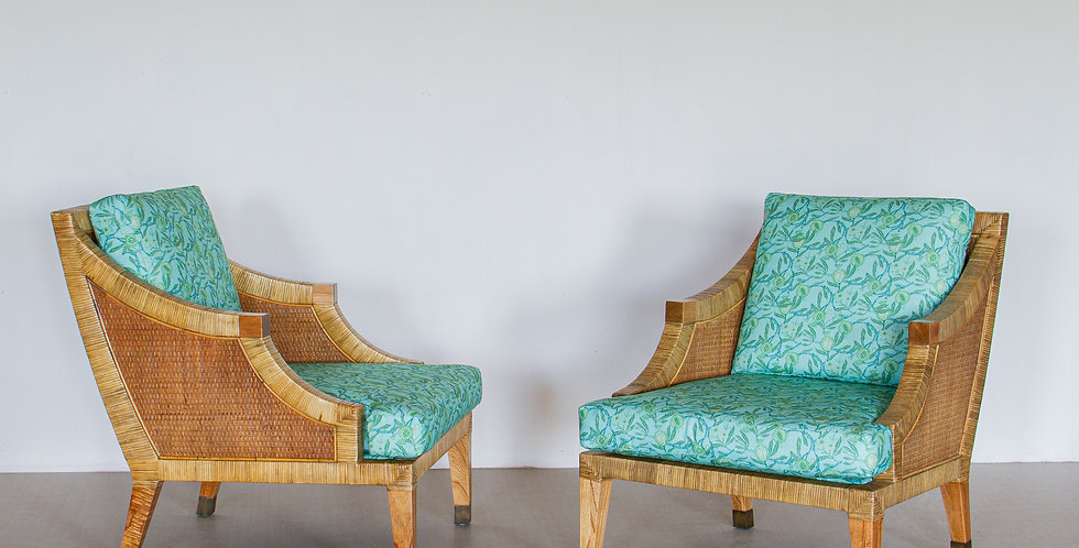 A Pair of Rattan Framed Armchairs, 1970s