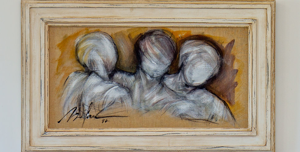 A Framed Oil on Canvas Painting of Three Figures by Mickey Pfau 1997