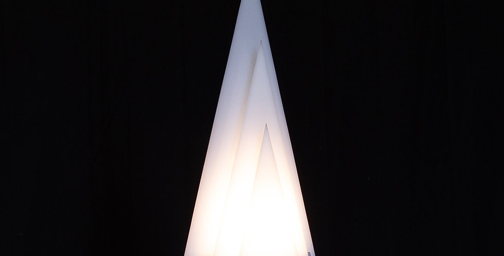 A Pyramid Shaped Aluminium and Acrylic Lamp Late 1970s