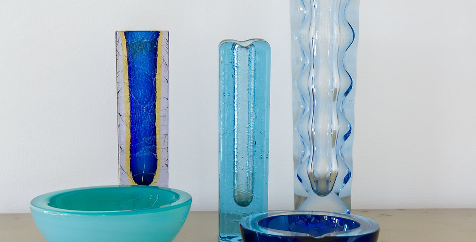 A Group of Five Blue Glass Vases and Bowls, 1960s