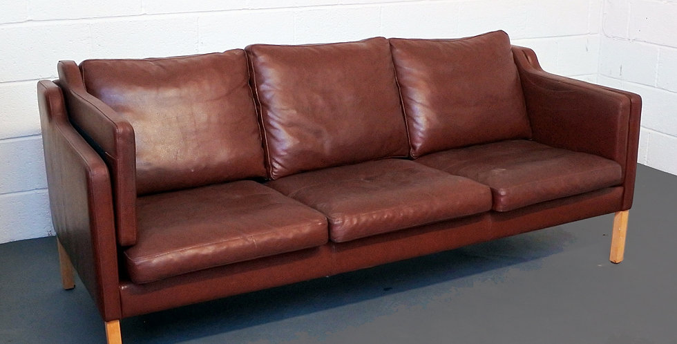 Danish Burgundy Three Seater Leather Sofa