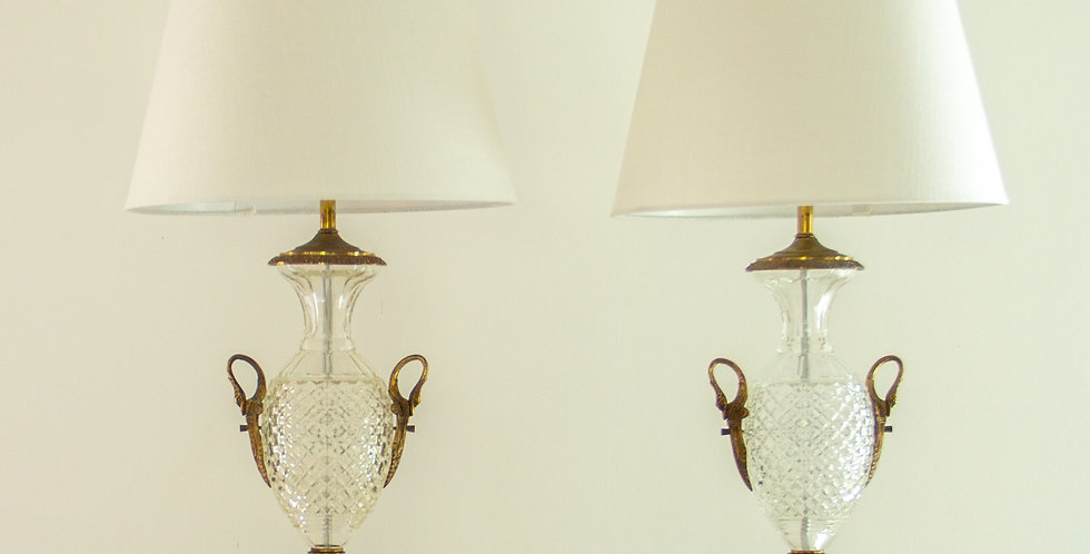Pair of Regency Style Crystal Lamps 1960s