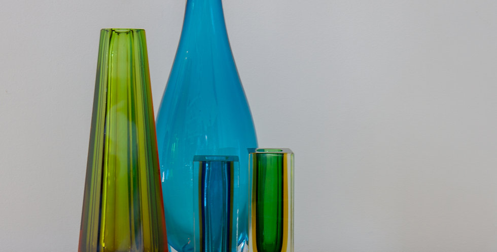 A Group of Five Glass Vases and Bowls