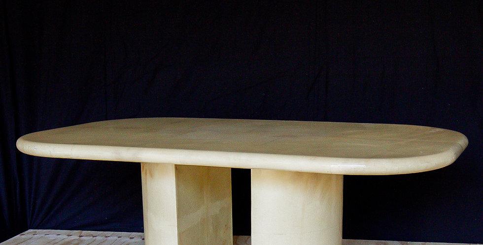 A Karl Springer Designed Goatskin Wrapped Dining Table 1980s