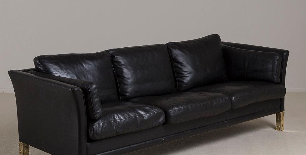 Danish Black Leather Three Seater Sofa, 1950s