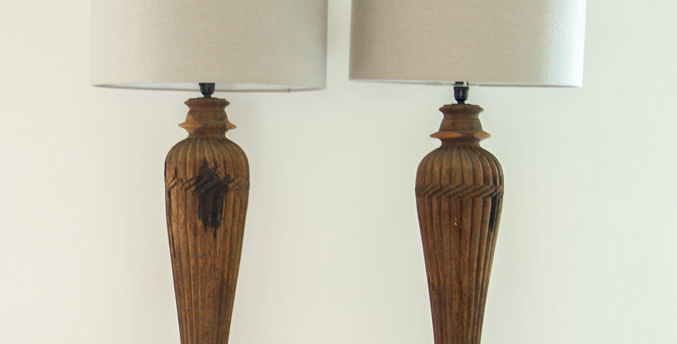 A Pair of Anglo Indian Column Lamps by KB Studio
