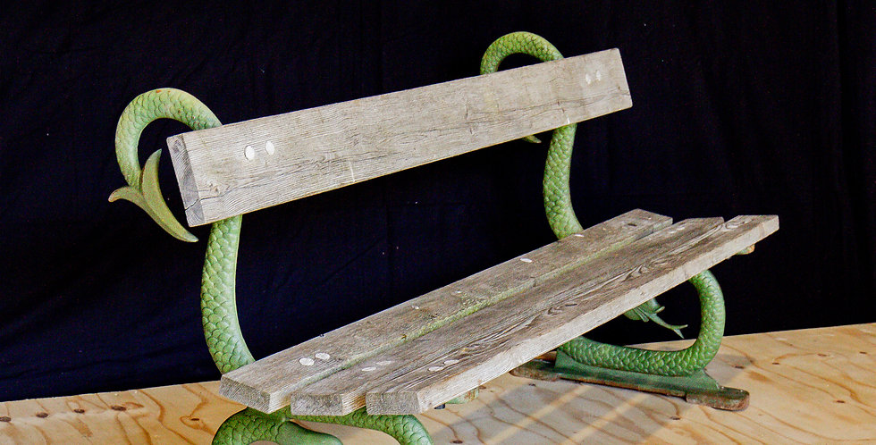 An English 19th Century Patinated Cast Iron and Wooden Bench circa 1860-1880