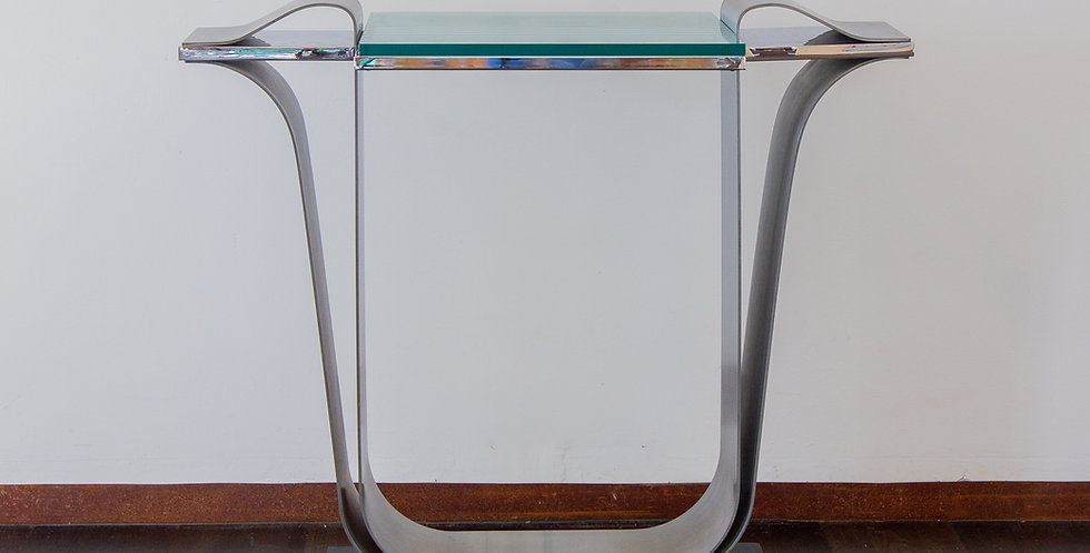 A Jay Spectre Steel Console Table with Glass Top 1980s