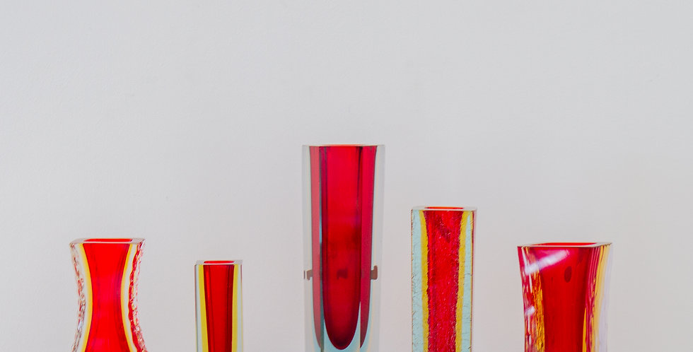 A Group of Six Red Murano Glass Vases