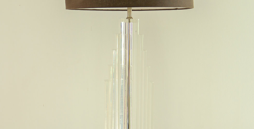 Tall Art Deco Style Lucite Lamp, 1970s