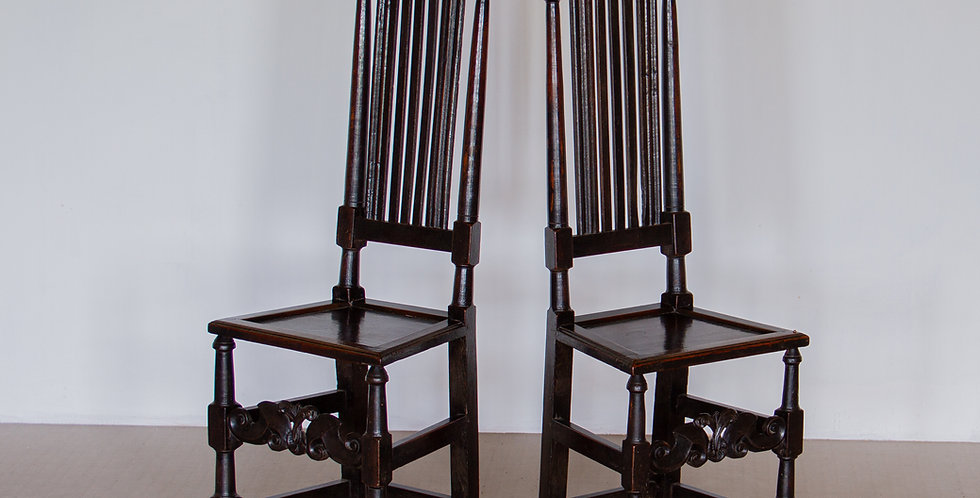 A Pair of 17th Century English Oak Carved Slat Back Chairs, circa 1685